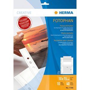 Herma 7586 - Pochettes pour photos Fotophan, format A4, pour photos 10 x 15