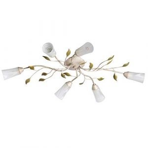 MW-Light DeMarkt 242015306 Plafonnier Floral à 6 Lampes en Métal Blanc Patiné en Or Abat-jours Fleurs en Verre Mat avec Feuilles en Métal Vert pour Chambre Cuisine 6x60W E14