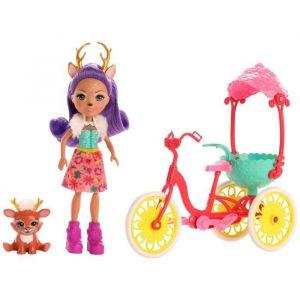 Mattel Enchantimals Coffret Danessa Biche à vélo, mini-poupée, figurine animale Sprint, et bicyclette, jouet enfant, GJX30