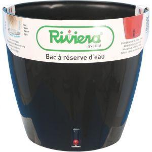 Riviera Pot plastique à réserve d'eau Diam.35 x H.33 cm noir