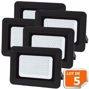 Lampesecoenergie Lot de 5 LED Projecteur Lampe 100W Noir 6000K IP65 Extra Plat