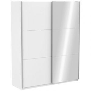 Armoire avec 1 Porte Coulissante Blanc et 1 Porte Coulissante Miroir 180cm SC FFER