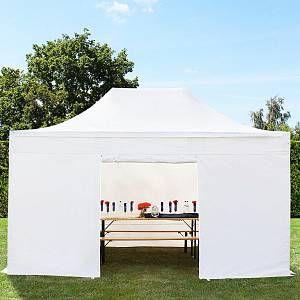 Intent24 Tente pliante tente pliable 3x4,5m - sans fenêtre PROFESSIONAL toit 100% imperméable tente de jardin pavillon blanc.FR