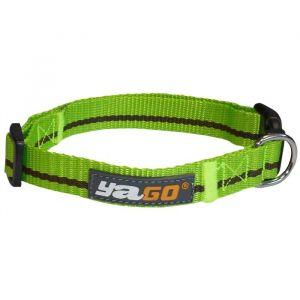 YAGO Collier en nylon - Vert et marron - Taille M 34-53 cm - Pour moyen chien