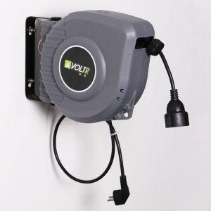 VOLTR Rallonge de câble électrique 15m murale, enrouleur de jardin automatique avec sécurité thermique, 3200W