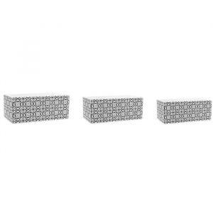 Ostaria Lot de 2 cache-pots rectangulaires Fleurs - Carreau de ciment - 19,5 x 10,5 x H9 / 25 x 13 x H10,5 cm - Noir et blanc