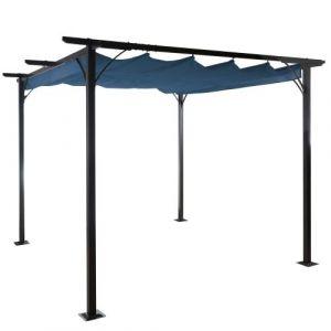 Mendler Pergola Hwc-c42, pavillon de jardin, cadre stable à 6 cm + toit ouvrant 3x3m bleu