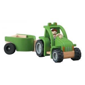 Plan Toys Tracteur avec remorque en bois