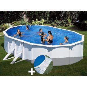 Gre Kit piscine acier blanc Bora Bora ovale 6,34 x 3,99 x 1,22 m + Tapis de sol