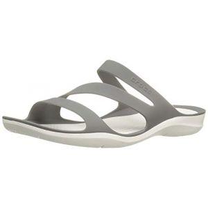 Crocs Swiftwater Sandal W, Sandales pour Femme Fumée/Blanc, 36-37 EU