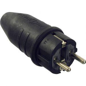 AS - Schwabe Fiche à contact de protection 61412 Tout caoutchouc 230 V noir IP44 1 pc(s)