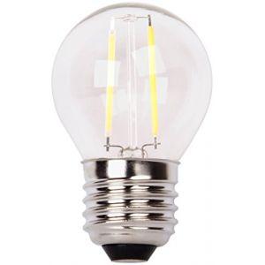 XQ-Lite Ampoule LED filament LED globe E27 2W équivalence 20W - Culot E27 - 2W équivalent à 20W - Couleur blanc chaud - 2700K - 210lm - Durée de vie : 15000h.