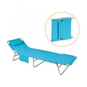 Sobuy Chaise Longue Bain de soleil Transat de Jardin Pliant,réglable,OGS35-B
