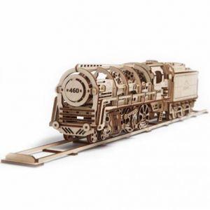 Maquette en bois : Locomotive a vapeur, modèle mécanique