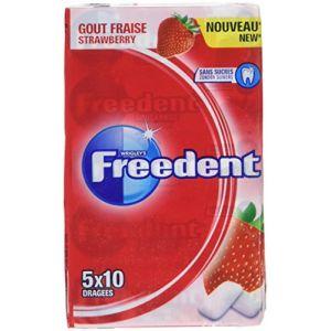 Freedent Chewing-gum sans sucres au goût fraise - Multipack de 5 étuis de 10 dragées, 70g