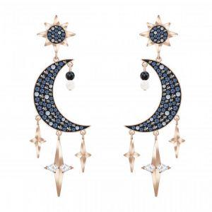Swarovski Boucles d'oreilles 5489536 - Métal Doré Rose Thème Nuit Cristaux Étincelants Femme