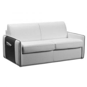 Inside75 BALI canapé convertible ouverture RAPIDO cuir vachette blanc sommier lattes et BULTEX 140cm