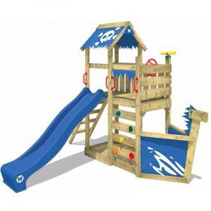 Wickey Aire de jeux Portique bois SpookyFlyer avec toboggan bleu Cabane enfant exterieur avec bac à sable, échelle d'escalade