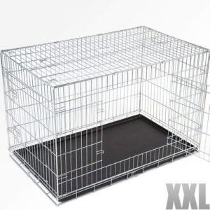 Cage pour chien 2 portes pliable en métal et transportable avec poignées 119/73/81,5 cm
