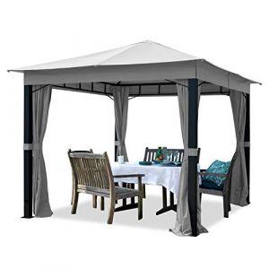 Intent24 TOOLPORT Pavillon de Jardin 3x3m ALU Premium 280 g/m² bâche imperméable pavillon 4 côtés Tente de Jardin Gris Clair 9x9cm Profil
