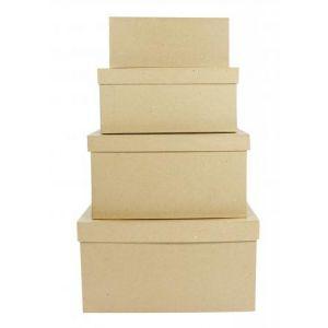 decopatch BTS906O - Lot de 4 boîtes rectangulaires 8x19x7 à 17x28x15cm, en papier mâché