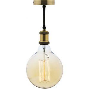 Elexity Kit Suspension Vintage avec Câble Textile et Ampoule Filament Carbone Grand Globe
