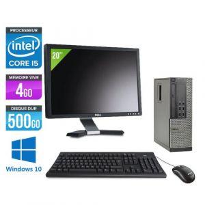 Dell Optiplex 7010 SFF + Ecran 20'' - Intel Core i5-3470 / 3.20 GHz - RAM 4 Go - HDD 500 Go - DVDRW - GigaBit Ethernet - Windows 10 Professionnel