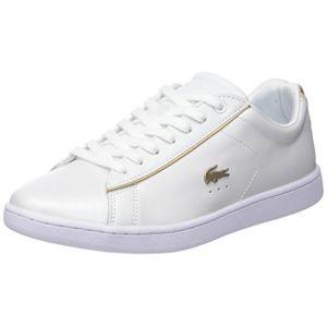 Lacoste Carnaby Evo 118 6 SPW, Baskets Femmes, Blanc (WHT/Or GLD 216), 38 EU