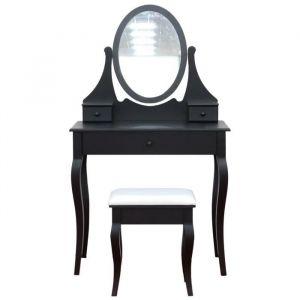 Coiffeuse classique en bois paulownia noir - L 80 cm - Bois paulownia noir - L 80 x P 40 x H 137 cm - 1 miroir et 3 tiroirs - 1 tabouret noir