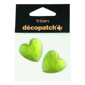 decopatch Cabochons 2 cœurs vert 3 cm