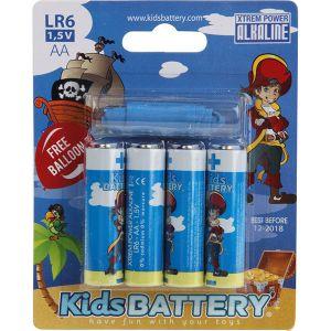 Kidsbattery Lot de 4 piles AA (LR06) alkaline pirates