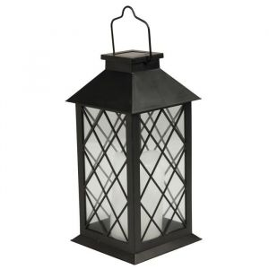 Solarline Lanterne solaire H28cm - Noir - Lanterne solaire carré - En métal - A poser ou à suspendre - Hauteur : 28cm - Coloris : noir.