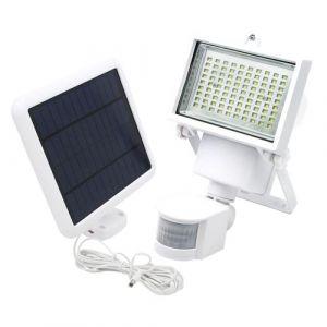 Projecteur solaire blanc eclairage puissant panneau solaire déporté LED blanc COOPER WHITE H22cm avec détecteur de mouvement orientable