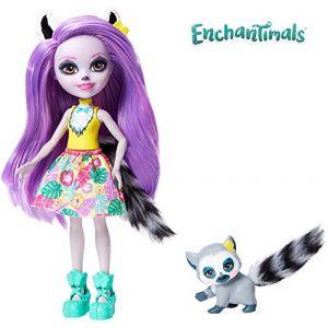 Mattel Enchantimals Mini-poupée Larissa Lémurien et Figurine Animale Ringlet, aux cheveux violets avec jupe à motifs en tissu, jouet enfant, GFN44