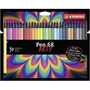Stabilo Etui carton 30 Feutres de dessin Pen 68 ARTY, pointe ogive moyenne, tracé 1 mm, coloris assortis