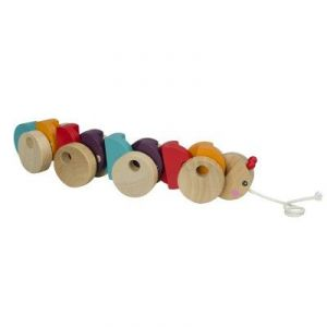 Okoia Jouet à tirer : Chenille multicolore en bois