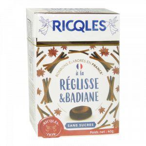 Ricqlès Bonbons Sans Sucres à la Réglisse & Badiane, 40g
