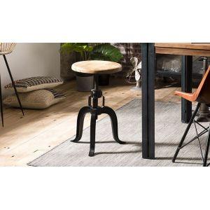 House and Garden Tabouret industriel hauteur ajustable en bois de manguier métal - RONNY