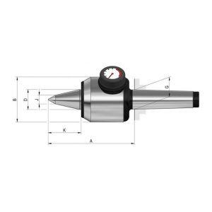 Rohm Pointe tournante à pointe allongée et indicateur de pression, Taille : 503, MK 3, A 120,0 mm, B : 64 mm, D : 25 mm, G : 23,825 mm, J : 11 mm, K : 46,5 mm