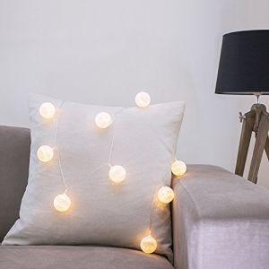 Lights4Fun Guirlande Lumineuse LED à Piles avec 10 Boules de Coton Blanc Chaud par