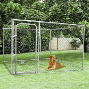 Idmarket Chenil grillagé 3x3 m pour chiens 9 m²