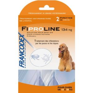 Francodex Fiproline 134 mg - Pipettes antiparasitaires pour Chien 10-20 kg