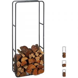 Relaxdays Etagère de Cheminée étagère à bûches Bois acier bois porte-bûches range buche 150 x 60 cm, anthracite