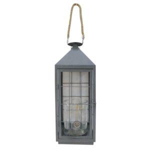 Aubry Gaspard Lanterne de jardin en métal gris et verre -