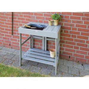 Esschert design Table de rempotage surélevée grise
