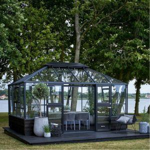 Juliana Serre de jardin sur muret 13m² anthracite en verre trempé Grand Oase
