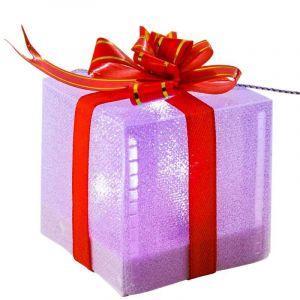 Cadeau ruban rouge LED multicolore (5 cm)