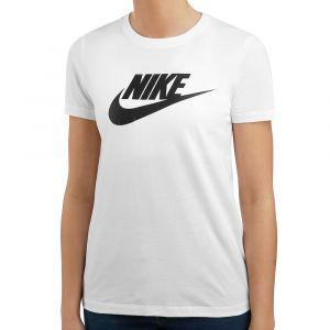 Nike W NSW Tee Essntl Icon Futura T-Shirt Femme, White-Black, FR : M (Taille Fabricant : M)