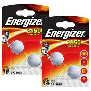 Energizer CR2450 DL2450 Lot de 5 piles bouton 3 V au lithium