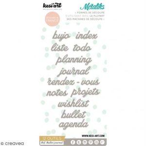 Kesi'art Dies Métaliks pour machines de découpe - Mots Bullet Journal - 12 pcs